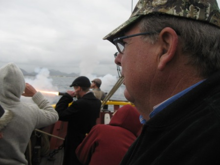 John was the only one on the ship to catch the muzzle flash of the 3 pounder cannon.