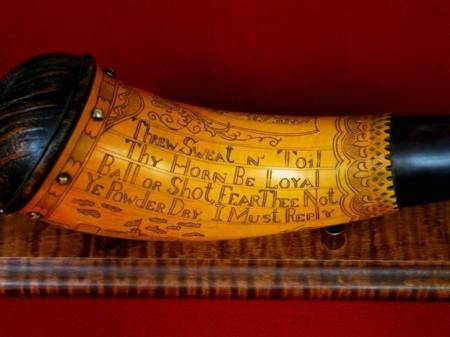 "Verse found on horns of the F & I, and Revolutionary war periods.  I took artistic license and used it on a 1837 horn. ""Importance of dry powder still applied. Yes, it is so."""