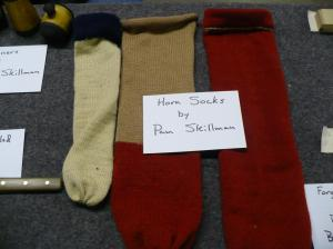 Hand knitted horn socks by Pam Skillman Won by Glenn Sutt, ,Kyle Martin, and Chip Kormas.